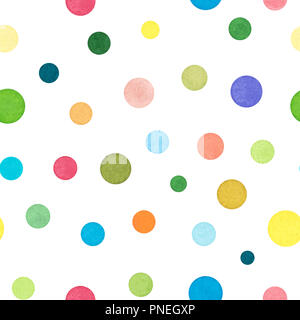 Set of Various Colorful Dots, Watercolor Painted and Isolated on White Background, SEAMLESS Pattern