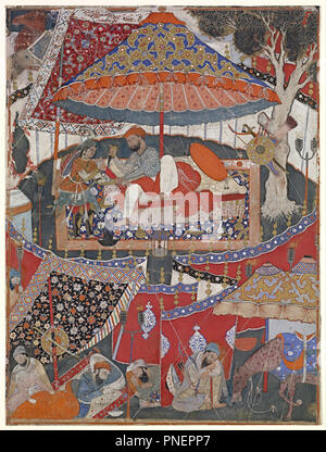 A page of the Dastan-i Amir Hamza (Hamzanama). Date/Period: Ca. 1567-1582. Opaque Watercolours. Opaque watercolour and gold paint on cotton opaque watercolour and gold paint on cotton. Height: 660 mm (25.98 in); Width: 493 mm (19.40 in). Author: Mughal. - Stock Photo