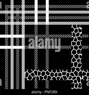 Scottish tartan grunge seamless pattern with leopard spots eps10 - Stock Photo