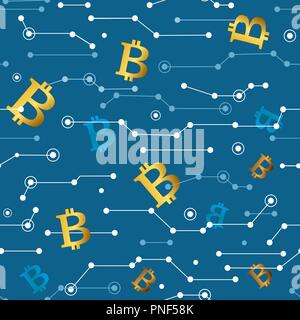 Line Bitcoin White Seamless Pattern. Vector Illustration of Outline Tile Background. Cryptocurrency Financial Items. - Stock Photo