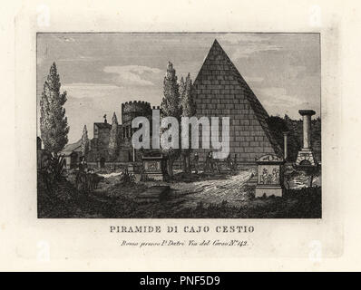 View of the Pyramid of Cestius, Piramide di Cajo Cestio, Rome. Copperplate engraving from Pietro Datri's New Collection of Principal Views of Rome Ancient and Modern with the ruins of war, Rome, 1849. - Stock Photo