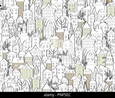 Pattern with hand drawn doodle houses. Illustration with cute town roofs and trees. Line drawing. Seamless background in black and white. Vector - Stock Photo