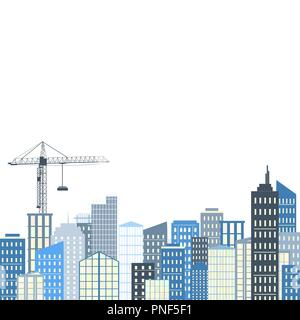 Urban landscape with buildings and crane. Vector illustration. City background, grey and blue palette, home or construction concept. Place for text - Stock Photo