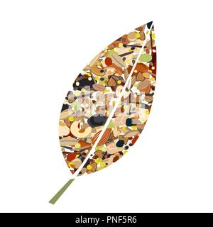 Cute leaf shape logo from nuts, dried fuits, grains and cereals. Unusual design for eco food shop or green store, vegetarian or vegan business. Vector - Stock Photo