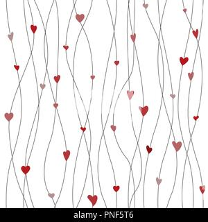 Vector seamless pattern with hanging heart garlands. Threads and hearts. Cute wrapping paper background - Stock Photo