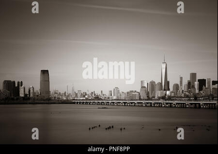 Manhattan downtown skyline with skyscrapers in New York City. - Stock Photo