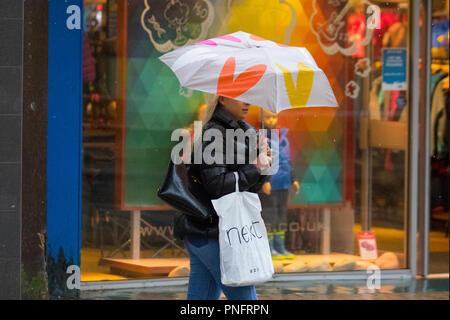 Preston, Lancashire. 21st Sept 2018. UK Weather: Blustery heavy showers in the city centre. Credit; MediaWorldImages/AlamyLiveNews - Stock Photo