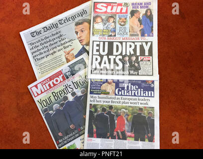 London, UK. 21st Sep, 2018. British newspapers from the 21st of September 2018 are on a table. Credit: Silvia Kuslido/dpa/Alamy Live News - Stock Photo