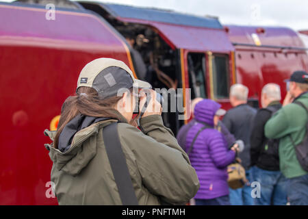 Kidderminster, UK. 21st September, 2018. Day Two of Severn Valley Railway's Autumn Steam Gala sees excited trainspotters flocking to the platform at Kidderminster SVR vintage station. Despite the rain showers, train enthusiasts take every opportunity to get as close as they can to these magnificent UK steam locomotives, particularly the Duchess of Sutherland looking resplendent in her fine crimson livery. A female photographer (rear view) is seen taking photographs of the busy platform scene at this heritage railway. Credit: Lee Hudson/Alamy Live News - Stock Photo
