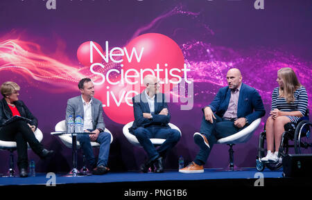 Clare Balding leads a discussion  entitled 'Technology in Sport: Is it always a good thing?' with sports stars Lawrence Dallaglio and Hannah Cockroft, Jamie Hindhaugh of BT Sport and sports engineer Steve Haake. On the main stage at New Scientist Live. - Stock Photo