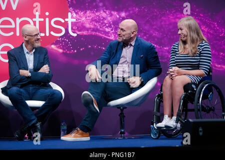 Sports stars,  Lawrence Dallaglio and Hannah Cockroft,  discussing 'technology in sport', with sports engineer Steve Haake, on the main stage at New Scientist Live - Stock Photo