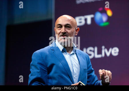 Physicist and broadcaster, Jim Al-Khalili, giving a bief history of Gravity, how it shapes the Cosmos but how we dont completely understand it. on the main Stage, at New Scientist Live - Stock Photo