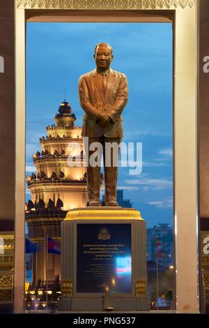Statue of King Norodom Sihanouk in park in Preach Suramit Boulevard in Phnom Penh, Cambodia. - Stock Photo