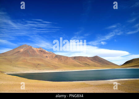 Laguna Miniques or Miniques Lake with Cerro Miscanti Volcano in the Backdrop, Antofagasta Region of Northern Chile - Stock Photo