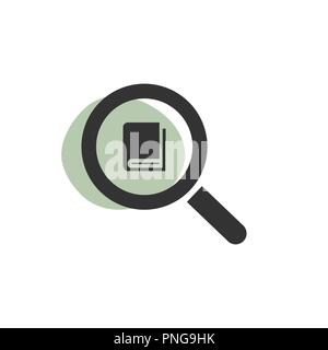Magnifying glass looking for a book isolated web icon. Vector illustration Stock Photo