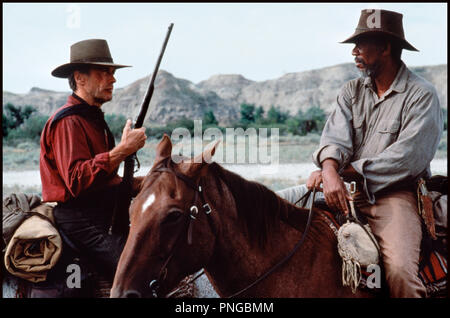 Prod DB © Malpaso - Warner Bros / DR IMPITOYABLE (UNFORGIVEN) de Clint Eastwood 1992 USA avec Clint Eastwood et Morgan Freeman western, chevaux, monter, equitation, fusil, cowboy - Stock Photo