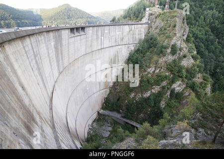 Vidraru dam in central Romania. It was completed in 1966 on the Arges River and creates Lake Vidraru - Stock Photo