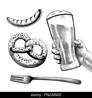 Engraved style beer festival symbol such as pretzels, beer, sausages on white background - Stock Photo