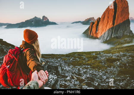 Couple romantic follow hands holding hiking in mountains Travel friendship lifestyle concept family together spending active adventure vacations moder