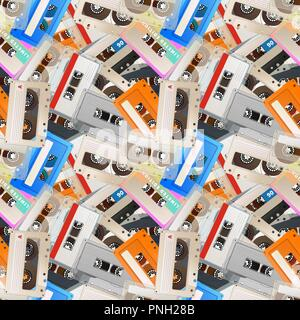 A lot of colorful detailed audio cassettes, vintage tape retro seamless pattern - Stock Photo