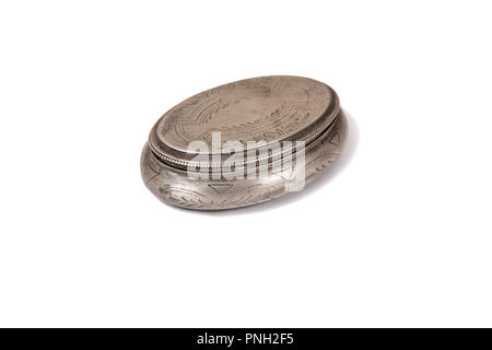 Vintage silver round box isolated on white background with shadow. - Stock Photo