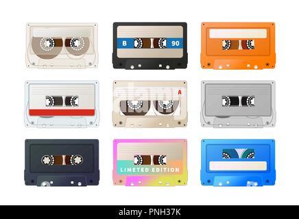 Detailed audio cassette, vintage tape on white - Stock Photo