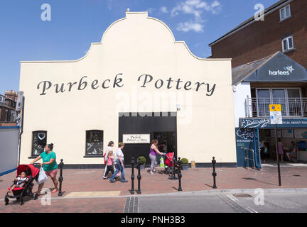 Purbeck Pottery, old historic buildings on quayside at Poole harbour, Poole, Dorset, England, UK - Stock Photo