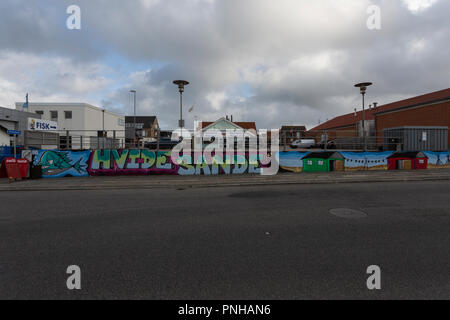 Street Art artists have decorated buildings and walls with grafitti art in Hvide Sande, Denmark. Street Art Künstler haben in Hvide Sande, Dänemark, G - Stock Photo