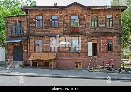 Dnipro, Ukraine - May 05, 2018: The last historic wooden house in central part of the city - Stock Photo