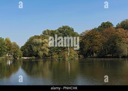 small lake near the Nidda River in Frankfurt, Germany - Stock Photo