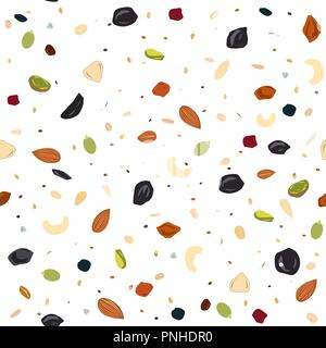 Seamless pattern with dried fruits, nuts, oatmeal, and seeds. Healthy and eco food, granola background. Vector illustartion - Stock Photo