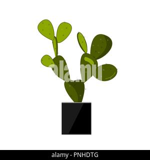 Prickly pear cactus in stylish black pot. Cactus flat vector illustration on white. Home potted flower. Opuntia icon, traditional Mexican plant. Vecto - Stock Photo