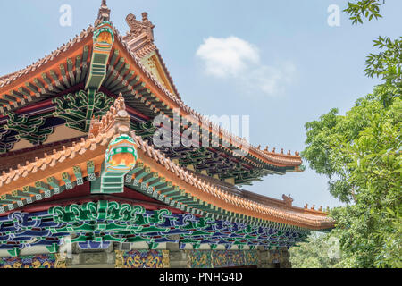 Close up photo of the architectural detail of the Po Lin monastery in Ngong Ping village in Hong Kong - Stock Photo
