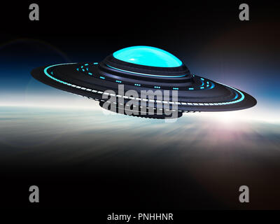 3d rendering metal ufo or alien spaceship isolated on white - Stock Photo
