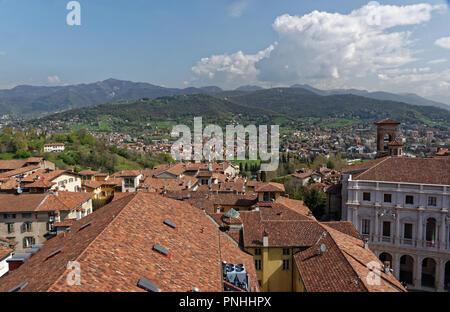 Panorama view from Campanone, Bergamo, Italy - Stock Photo