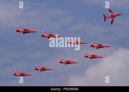 Royal Air Force Red Arrows - Stock Photo