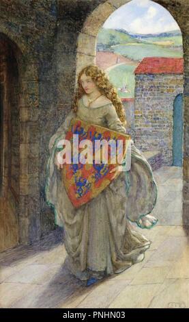 Fortescue-Brickdale  Eleanor - Elaine with Lancelot's Shield - Stock Photo