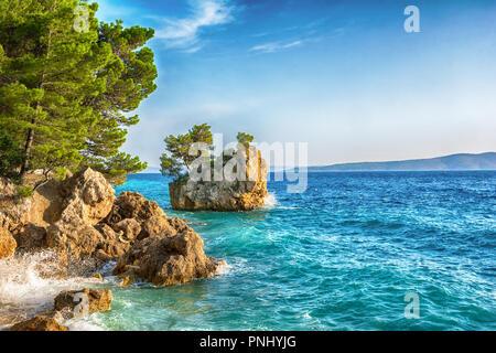 Beautiful Punta Rata beach in Brela, Makarska Riviera, Dalmatia, Croatia. Travel resort background. Summer vacatioan. Copy space. - Stock Photo