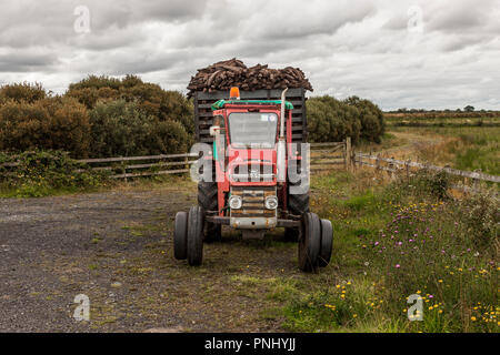 Easkey, Sligo, Ireland. 13th August, 2009. A tractor and trailer with a load of turf parked up at the side of the road near Easkey, Co. Sligo Ireland - Stock Photo