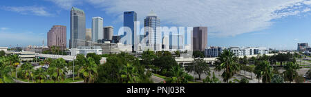 An aerial perspective on a beautiful sunny summer day in Tampa Florida downtown Stock Photo
