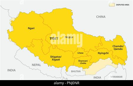 tibet administrative and political vector map with disputed border areas. - Stock Photo