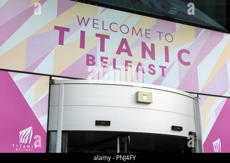 Belfast, Northern Ireland - August 23rd 2018: The welcome sign above the entrance to the Titanic Belfast Museum in the city of Belfast, Northern Irela - Stock Photo