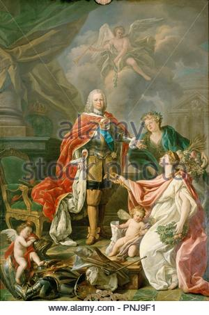 Antonio González Ruiz / 'King Ferdinand VI as protector of Arts and Science', 1754, Oi on canvas, 315 x 225 cm. Museum: REAL ACADEMIA DE BELLAS ARTES DE SAN FERNANDO. - Stock Photo