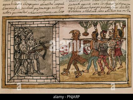 Spanish School. Manuscript, folio 213 V. Spanish and Indians Fighting in Tlaxcala. Conquest of Mexico. 16th century. Madrid, National Library. Author: DURAN, DIEGO. Location: BIBLIOTECA NACIONAL-COLECCION. MADRID. SPAIN. - Stock Photo