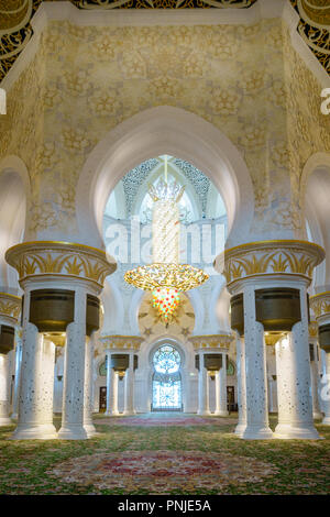 Interior rooms of Sheikh Zayed Grand Mosque in Abu Dhabi, UAE - Stock Photo