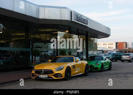 Borken, North Rhine-Westphalia / Germany - September 20, 2018: Sports car Mercedes-AMG GT in front of the Mercedes dealer Herbrand from Borken - Stock Photo