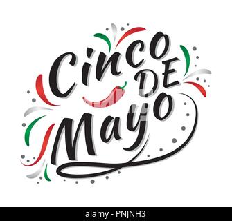 Cinco de Mayo mexican greeting card. Vector illustration - Stock Photo
