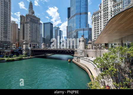 View of the Chicago River with the DuSable Bridge and Trump International Tower, Downtown Chicago, IL. - Stock Photo