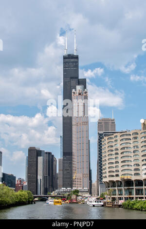 View of Willis Tower from a boat on the Chicago River, Downtown Chicago, IL. - Stock Photo