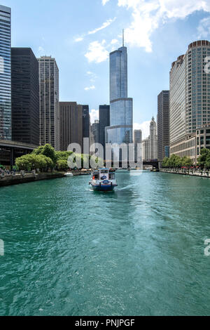 View from a boat on the Chicago River with Trump International Hotel and Tower, Downtown Chicago, IL. - Stock Photo